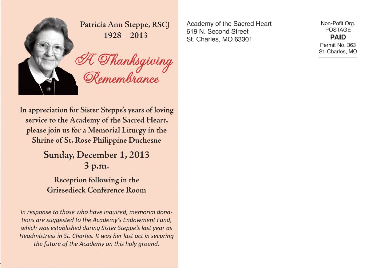 memorial mass for patricia steppe rscj � academy of the